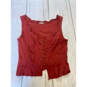 Intimately free people rust button front tank top